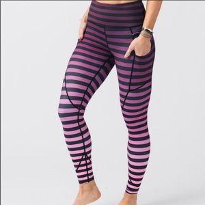 Zyia Purple Ombre Stripe Pocket Light n Tight